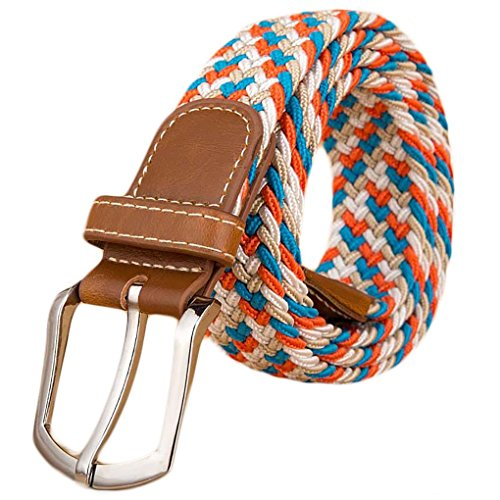 Ayli Women's Braided Stretch Belt, PU Leather Tip, with Key Chain, Red White Blue, (Ladies Braided Belt)
