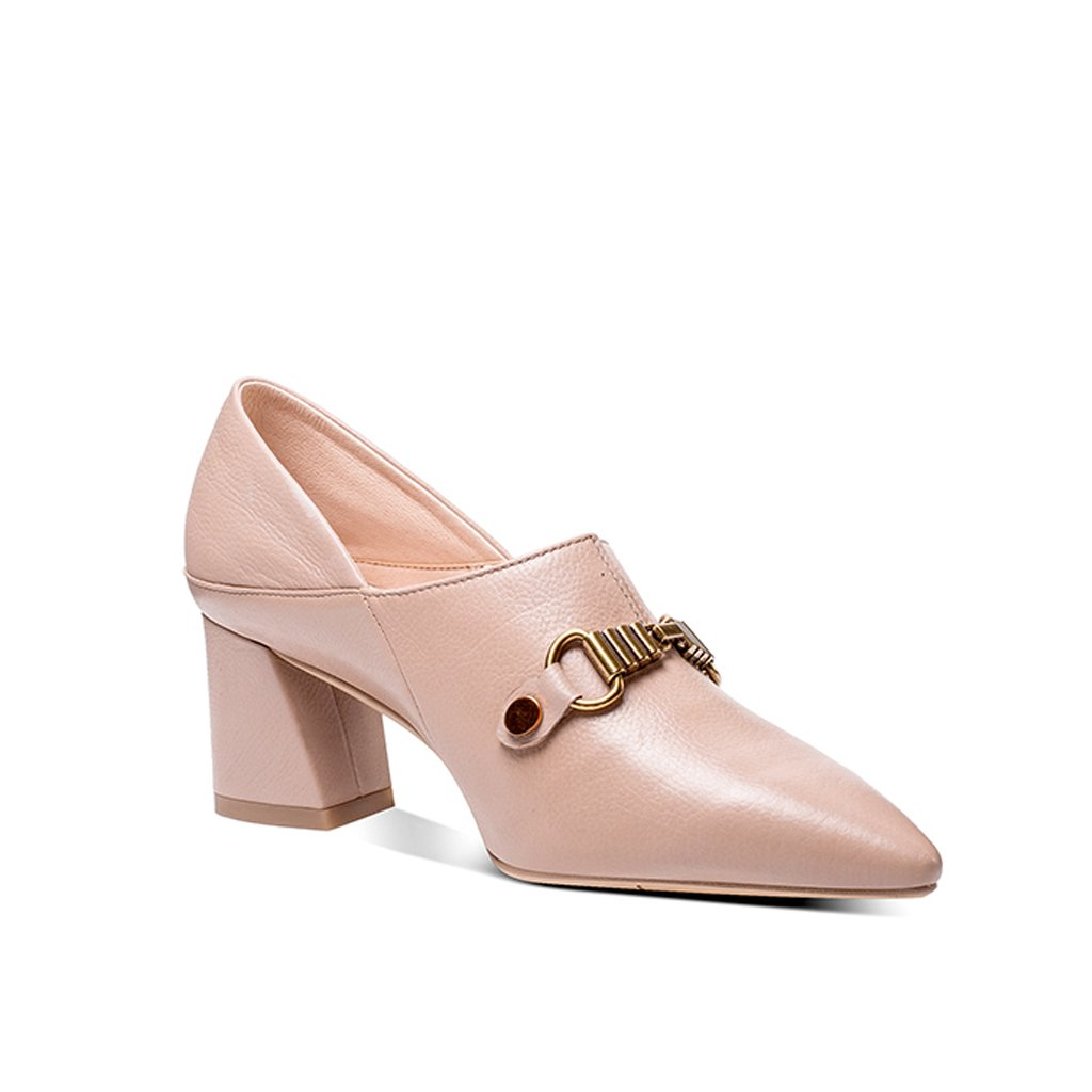 YUBIN Spring New Year Schuhe Dick Die Dick Schuhe Mit Tiefen Mund Schuhe Leder Ferse Schuhe Metall Dekoration Damen Lederschuhe (Farbe   braun größe   38) 43cb3e
