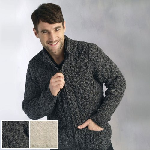 100% Soft Irish Merino Wool Full Zip Aran Sweater by West End Knitwear