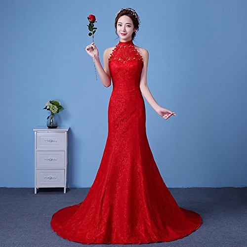 Lace Rhinestones Wedding Women's Bridal Halter Party Train Mermaid Dresses Drasawee Red w4OEqXE
