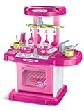 Portable Pink Electronic Children Kids Kitchen Cooking Girl Toy Cooker Play Set