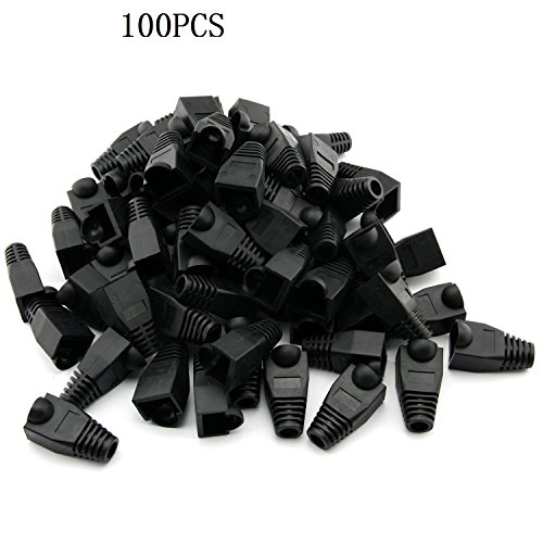 Covers Network Cable (RilexAwhile 100 Pcs Black Soft Plastic CAT5E CAT6 Ethernet RJ45 Cable Cap Connector Boots Plug Cover Strain Relief Boots (Black))