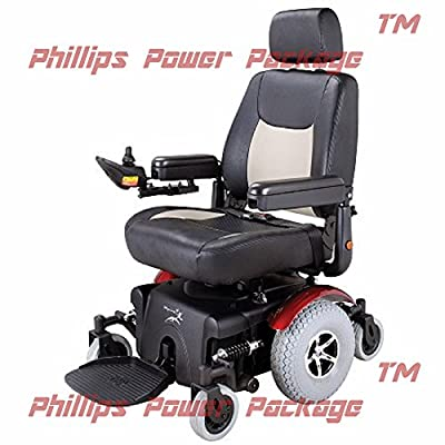 """Merits Health Products - Vision Super - Midwheel Drive Power Chair - 22""""W x 20""""D - Red - PHILLIPS POWER PACKAGE TM - TO $500 VALUE"""