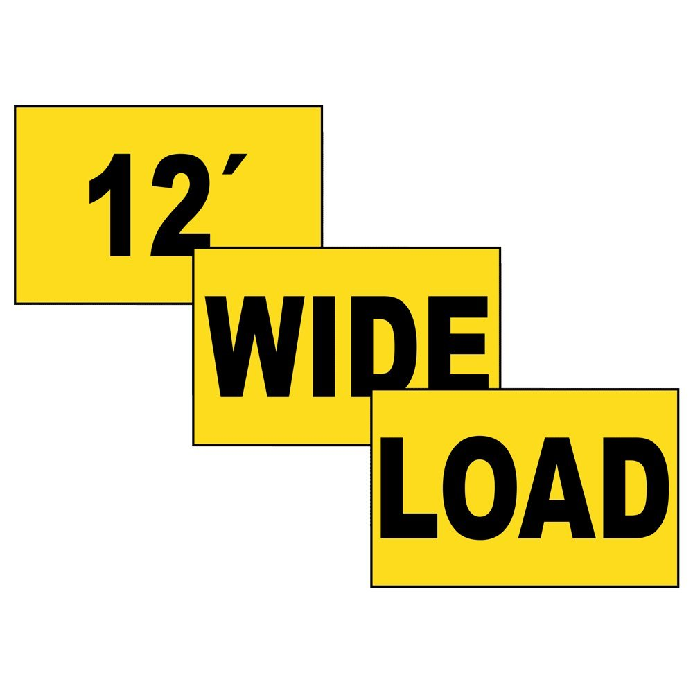 ComplianceSigns Magnetic Wide / Oversize / Long Load Signs Set, 72 x 12 with English, Yellow