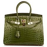 Qidell Women's Padlock Patent Leather Crocodile Embossed Handbag On Clearance (35 cm.Olive green)