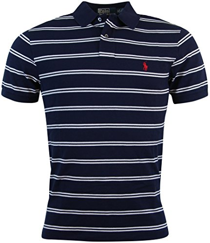 Polo Ralph Lauren Mens Pima Stretch Mesh Striped Polo Shirt - S - Navy/White (Pima Polo Shirt Mesh)