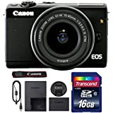 Canon EOS M100 Mirrorless Digital Camera with 15-45mm Lens (Black) + 16GB Memory Card
