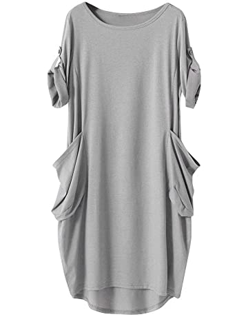 4d4ae74fdc639 iLUGU Neutral Knee-Length Dress for Women Long Sleeve Boatneck Solid Color  Pocket Long Tops