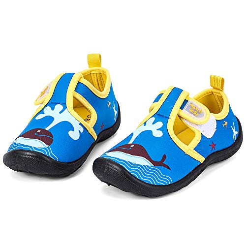 nerteo Boys Beach Sandals Kids Aqua Water Shoes for Pool, Camp Royal Blue/Whale US 3 Little Kid