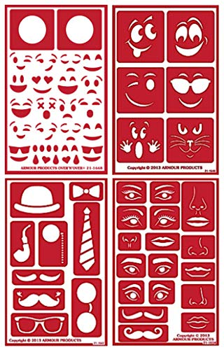 4 Armour Etch Over N Over Reusable Glass Etching Stencils Set | Emoji, Face, Mustache, Lips, Bow Tie, Eye Theme