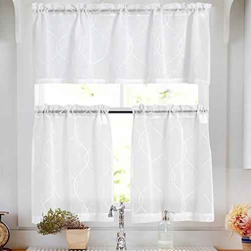 (Sheer Kitchen Curtain Sets with Valance 3 Pcs Moroccan Trellis Pattern Embroidered Semi Sheer White Kitchen Tier Curtains and Valance Set 24 inch for Bathroom)