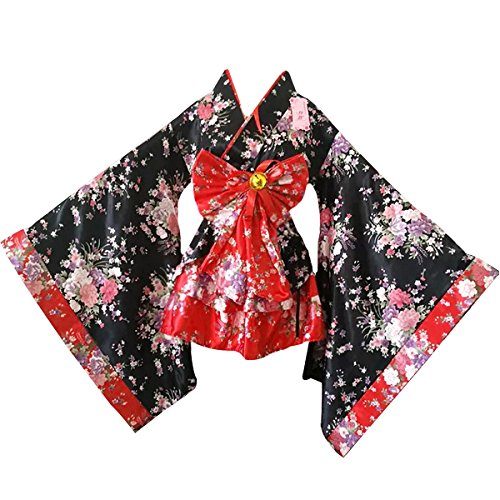 Monique Women Cherry Blossoms Anime Cosplay Lolita Dress Japanese Kimono Costume Dresses Clothes Red M]()