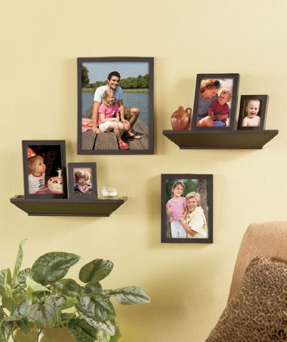 Amazoncom Picture Frame And Shelf Set 8 Pc Black Frame With