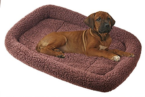 Sheepskin Kennel Pad - BINGPET Padded Dog Bed Pet Kennel Pad Cat Crate Cushion , Brown Small 24