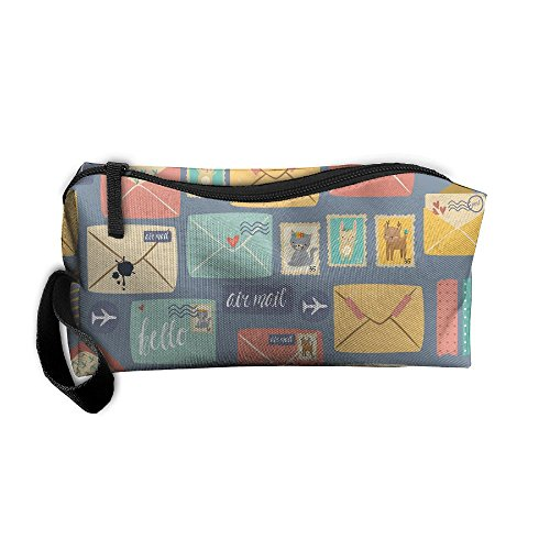 HSs4AD Postal Stationery Best Graphic Cosmetic Travel Toiletry Makeup Bag Portable Pouch Hanging Organizer Bag