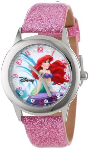 Disney Kids' W000955 Tween Ariel Stainless Steel Watch with Glitter Strap