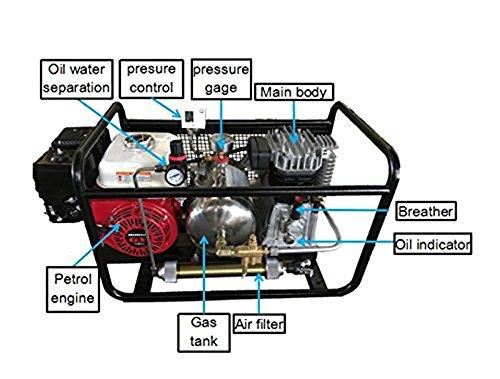 D Machinery 250L/Min Hookah Dive Compressor,Gasoline Driven,5-HP Honda  Engine,Third Lung Surface Oil-free Pump,with 50 Feet Hose & Regulator,SCU80P