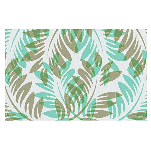 Kess InHouse Alison Coxon Winter Fern Green Teal Decorative Door, 2' x 3' Floor Mat