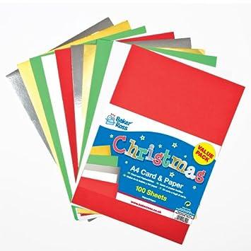 Baker Ross Tarjeta de Colores de Navidad A4 (225 g / m2) y ...