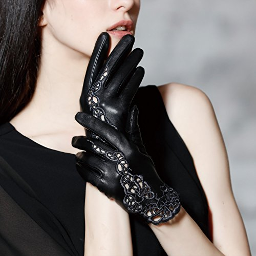 Fioretto Womens Leather Gloves Touch Screen Unlined Lace Gloves Texting Driving Size M