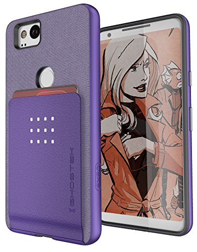 Google Pixel 2 Card Case, Ghostek Exec Wallet Cover Credit Card ID Slot Pocket Holder | Built-In Metal Plate for Magnetic Car Mounts | Dual Layer Protection | Purple by Ghostek
