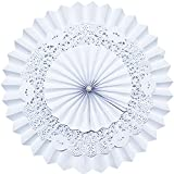 Lightingsky 5 Pcs 3 Layers Hanging Paper Party Fans for Baby Shower Birthday Wedding Party Decoration (16 inch, White)