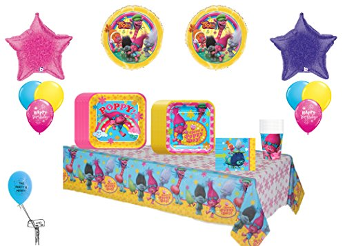 Trolls Birthday Party & Balloons Decoration Kit 16 Guest ~Lunch Plates, Dessert Plates ,Cups, Balloon Bouquet