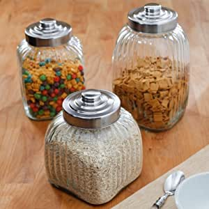 Global Amici Square Glass Canisters with Air Tight Twist Top - Set of 3