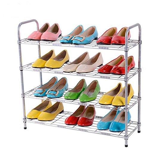TQLT Estante Zapatero de Acero Inoxidable de Cuatro Capas Arcón Zapato Simple Fortalece el Estante de colección...