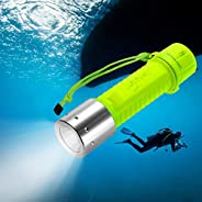 TurnRaise Diving Flashlight - 1100LM L2 LED Waterproof IPX8 Underwater Submarine Light for Diving with Lanyard