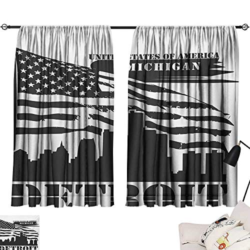 (Ediyuneth Drapes for Living Room Detroit,Monochrome Grunge City Silhouette American Flag United States Michigan,Charcoal Grey White 84
