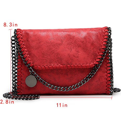Amily PU Leather Chain Bag Cross Body Bag Hobo Handbag Clutch Shoulder Bag Messenger Bag Purse Pouch for Women Red by Amily (Image #2)