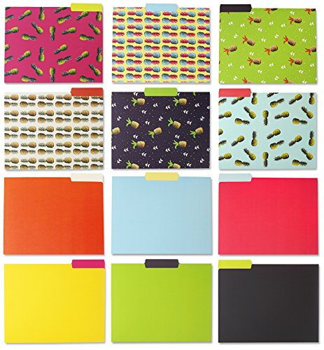 Decorative File Folders - 12-Count Colored File Folders Letter Size, 1/3-Cut Tabs, Includes 6 Cute Funky Pineapple Designs and 6 Solid Colors, Office Supplies File Filing Organizer, 9.5 x 11.5 (Designer Colors File Folder)