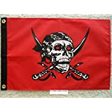 "Pirate Flag 12""x18""Caribbean Pirate Double Sided Nylon Boat/Motorcycle"