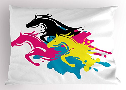 Lunarable Art Pillow Sham, Color Splashes Style Galloping Horses Abstract Wild Animal Illustration Graphic Design, Decorative Standard Queen Size Printed Pillowcase, 30 X 20 Inches, Multicolor