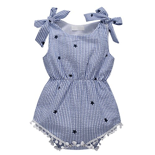 (Baywell Baby Girl Romper Newborn Infant Sleeveless Star Printed Bow-Knot Jumpsuit Bodysuit)