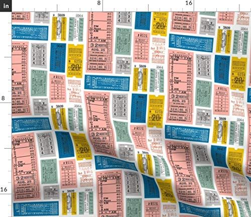 Spoonflower Tickets Fabric - Ticket Retro Letters Train Travel Subway Typography Ticket Pass Print on Fabric by The Yard - Petal Signature Cotton for Sewing Quilting Apparel Crafts Decor