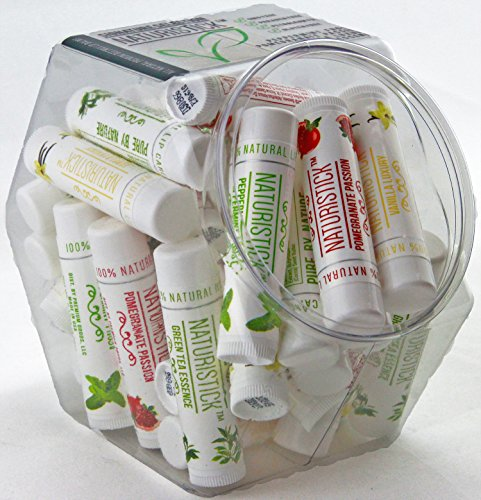 - All Natural Beeswax Lip Balm in Mini Fishbowl (32 Pack Bulk) by Naturistick. Best Healing Chapstick for Dry, Chapped Lips. With Aloe Vera, Vitamin E, Coconut Oil for Men, Women and Kids. Made in USA.