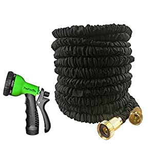 Expandable Hose 50 Feet Strongest Garden Hoses New Durable Double Layer Latex Extra Strength Fabric Free Spray Nozzle 3/4 USA Standard For Home Watering Gardening Washing Cleaning (50, Black)