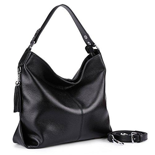 9af50435c1 BIG SALE-AINIMOER Womens Leather Vintage Shoulder Bag Ladies Handbags Large  Tote Top-handle Purse Cross Body Bags (Black)  Handbags  Amazon.com