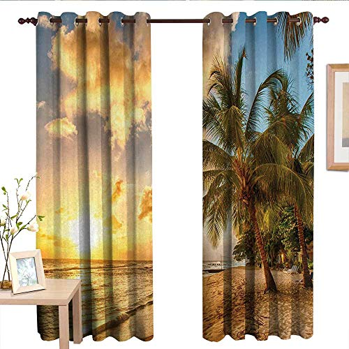 (LewisColeridge Bedroom Curtain Beach,Tropic Sandy Beach with Horizon at The Sunset and Coconut Palm Trees Summer Photo,Cream Blue.jpg,Insulating Room Darkening Blackout Drapes)
