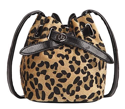 QZUnique Women's Cotton Drawstring Bucket Bag Crossbody Bag Leopard Print Shoulder Bag Handbag Purse with Lock Closure Yellow