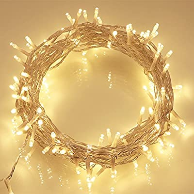 100 LED Outdoor Battery Fairy Lights w/ Timer on 11M Clear Cable - (8 Modes, IP65 Waterproof, Warm White)