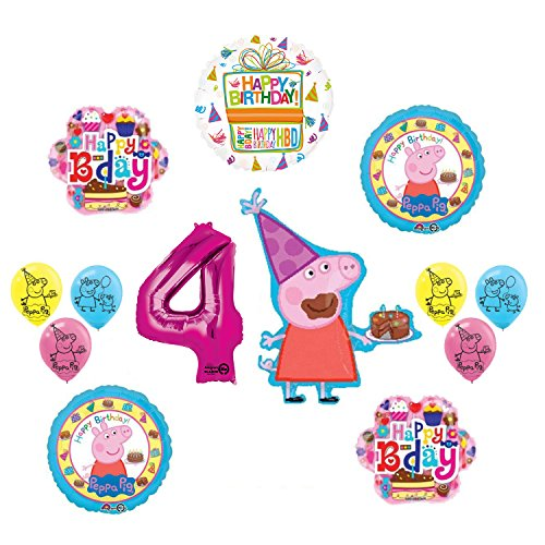 Peppa Pig 4th Birthday Party Balloon supplies and decorations kit