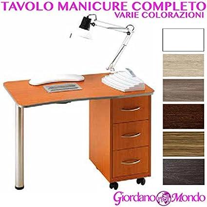 Mesa manicura de madera + Aspirador polvo + lámpara + Porta esmaltes (Varios colores) profesional para esteticista: Amazon.es: Belleza