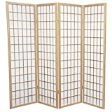 Oriental Furniture 5 ft. Tall Window Pane Shoji Screen - Natural - 4 Panels