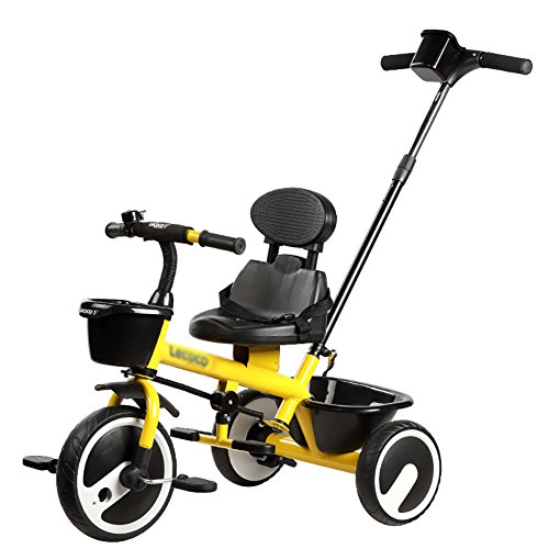 (Tricycle Boys Girls Single Rod Environmental Protection Titanium Empty Wheel Simple 2-6 Years Old Baby Car (Color : Yellow))