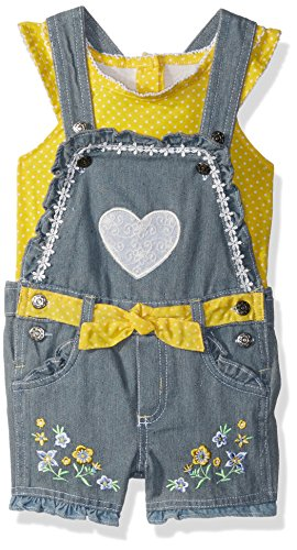 (Nannette Baby Girls 2 Piece Shortall and tee Set, Yellow, 24M)