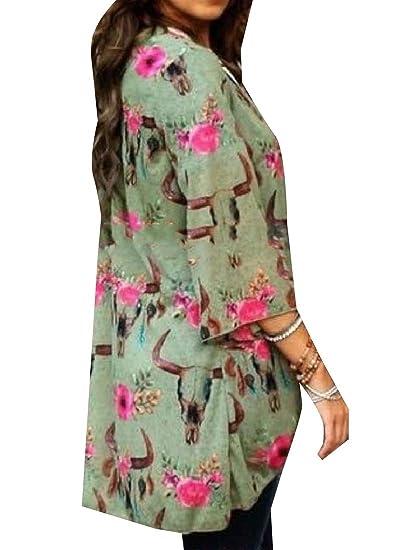 46de4a7a6a20 Tootless-Women Sunscreen Floral Print 3 4 Sleeve Open Beachwear ...