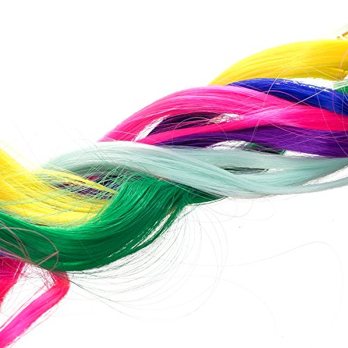 SWACC 22 Pcs Colored Party Highlights Clip on in Hair Extensions Multi-Colors Hair Streak Synthetic Hairpieces (11 Colors 22 Pcs in Set -Curly Wavy) by SWACC (Image #4)